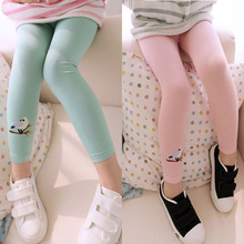 Hot Sale Baby Kids Girls Cotton Pants Embroidery Bird Warm Stretchy Leggings Trousers 2015 Freeshipping