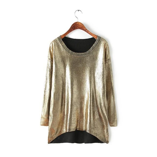 NEW 2015 high street fashion women casual gold O-collar sweater Korean Irregular knitwear tops Long sleeve pullover sweaters