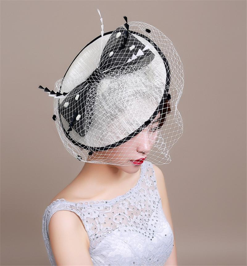 Sinamay Feather Fascinator Hair Accessories Bridal Birdcage Veil Hat Wedding Hats And Fascinators Chapeu Cabelo WIGO0700(China (Mainland))