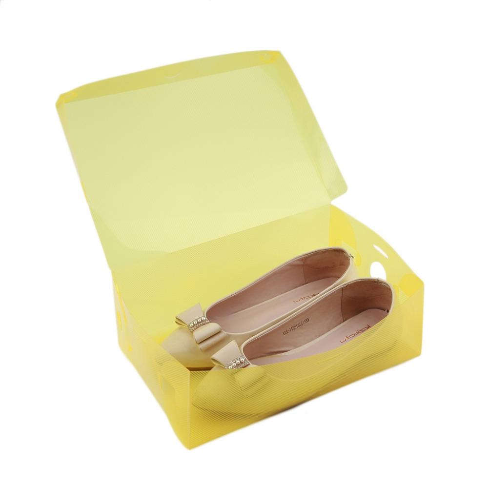1 PCS Stackable Storage Box Thick Boot Shoe Organizer Transparent Plastic Foldable(China (Mainland))