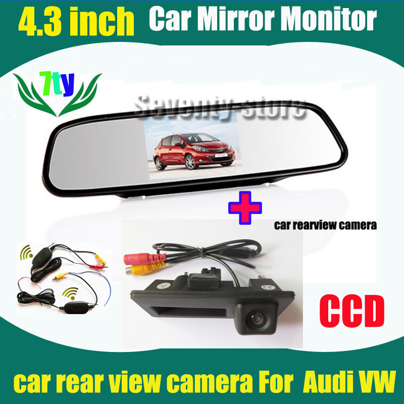 CCD HD Car rear view camera for VW Passat Tiguan Golf Passat Touran Jetta Audi A4L A4 A5 S5 Q5 car camera+ car monitor mirror(China (Mainland))