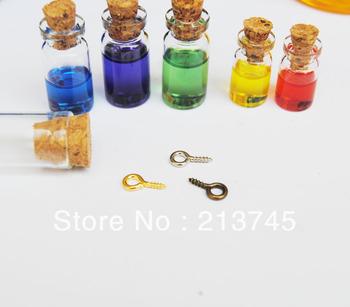 free ship  style 28*10*5mm Glass Bottle Pendant With Cork & Eyehook  (rice/perfume/bottle/vial/wish/bottle) DIY Fine jewelry