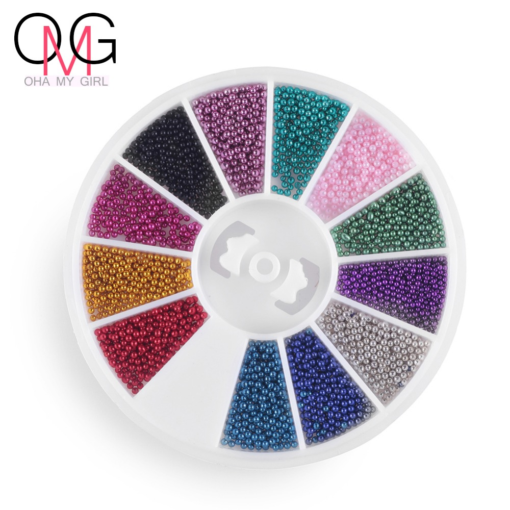 Nail 12 Color Steels Micro Ball Wheel Beads Studs For Nails Metal Caviar Design Wheel Charms 3D Decorations Nail Art Supplies(China (Mainland))
