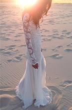 Casamento Boho Sheer dentelle plage robe de mariée avec manches longues Backless étage longueur 2015 femmes robes de mariée robe Custom Made(China (Mainland))