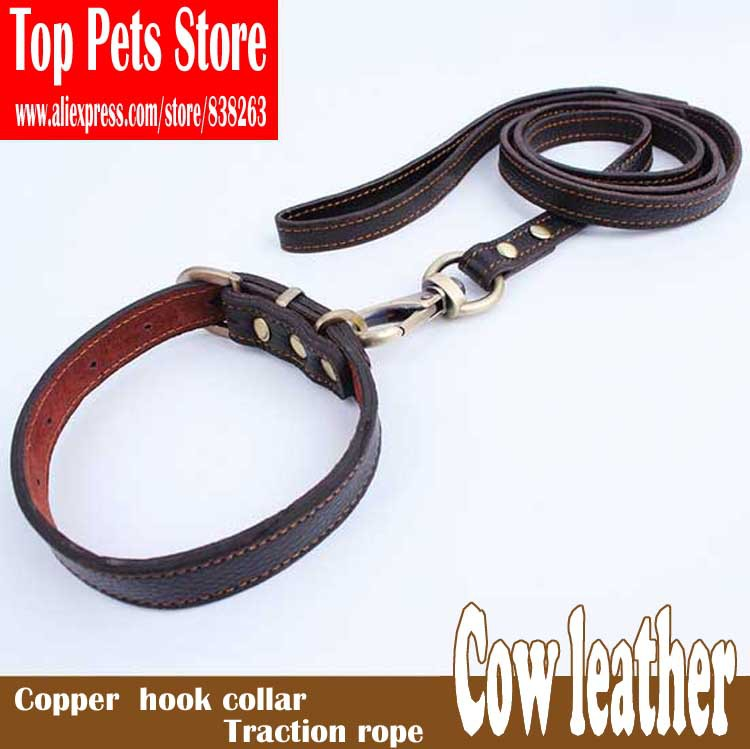 Brand new real cowhide copper hook traction rope dog collars Senior pet leash suits Pet supplies 125 * 1.5 cm Free shipping(China (Mainland))