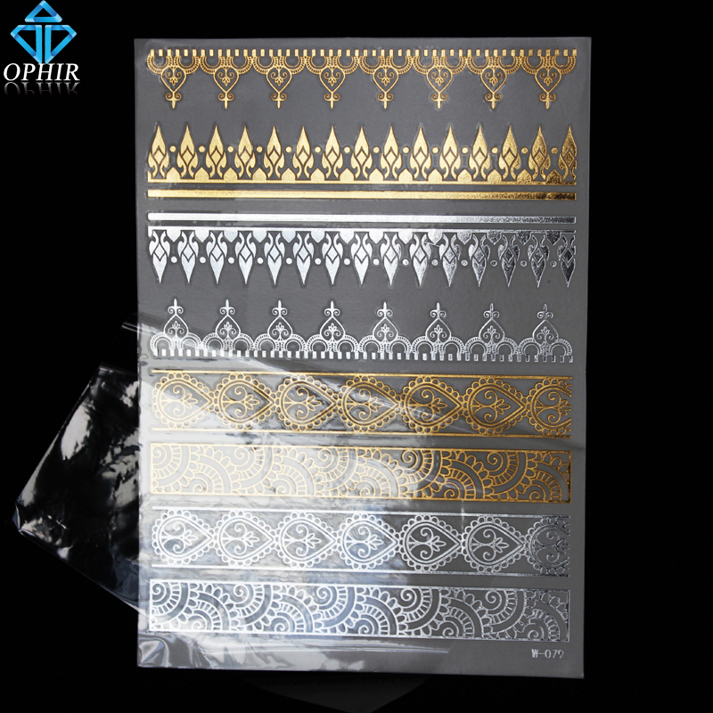 2015 OPHIR Flash Tattoos Lotus Designs Temporary Gold & Silver Metallic Tattoos Metal Texture for Beauty Body Decoration_MT016(China (Mainland))