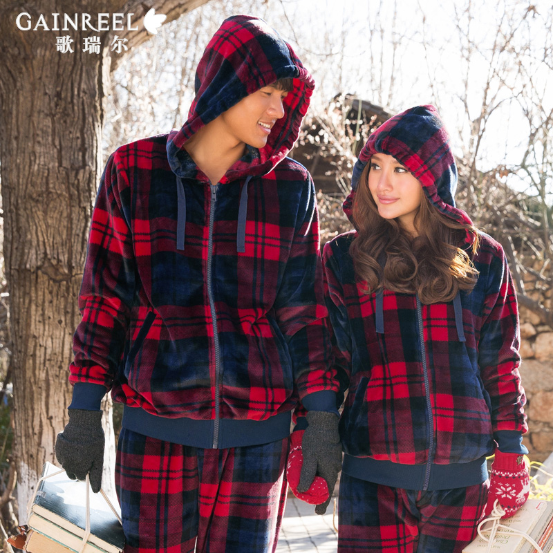 Song Riel autumn and winter flannel pajamas lovely thick plaid hooded men and women couples suite