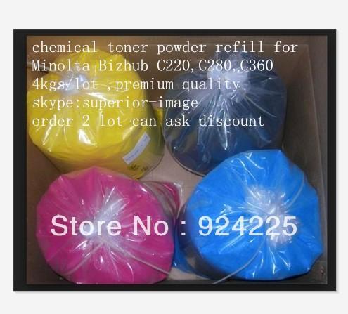 Free shipping!High quality compatible Konica Minolta Bizhub C220,C280,C360 chemical color toner powder,K/C/M/Y,4KG/LOT.(China (Mainland))