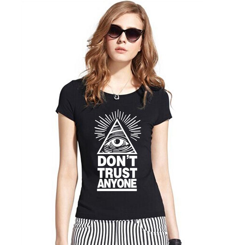 Women Fashion Summer Cotton T Shirts EYE OF PROVIDENCE Don't Trust Anyone T-shirts Female Fitness Tshirts Short Sleeve Clothing(China (Mainland))