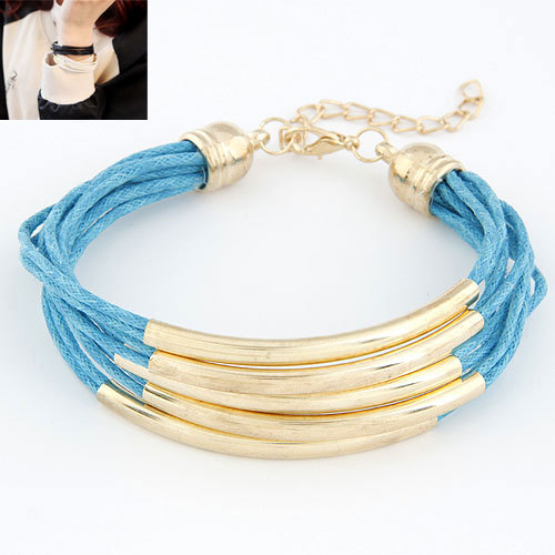 European Fashion OL Ladies Multilayer Wax Cords with Copper Tube Bracelet Jewelry Accessories for Women(China (Mainland))
