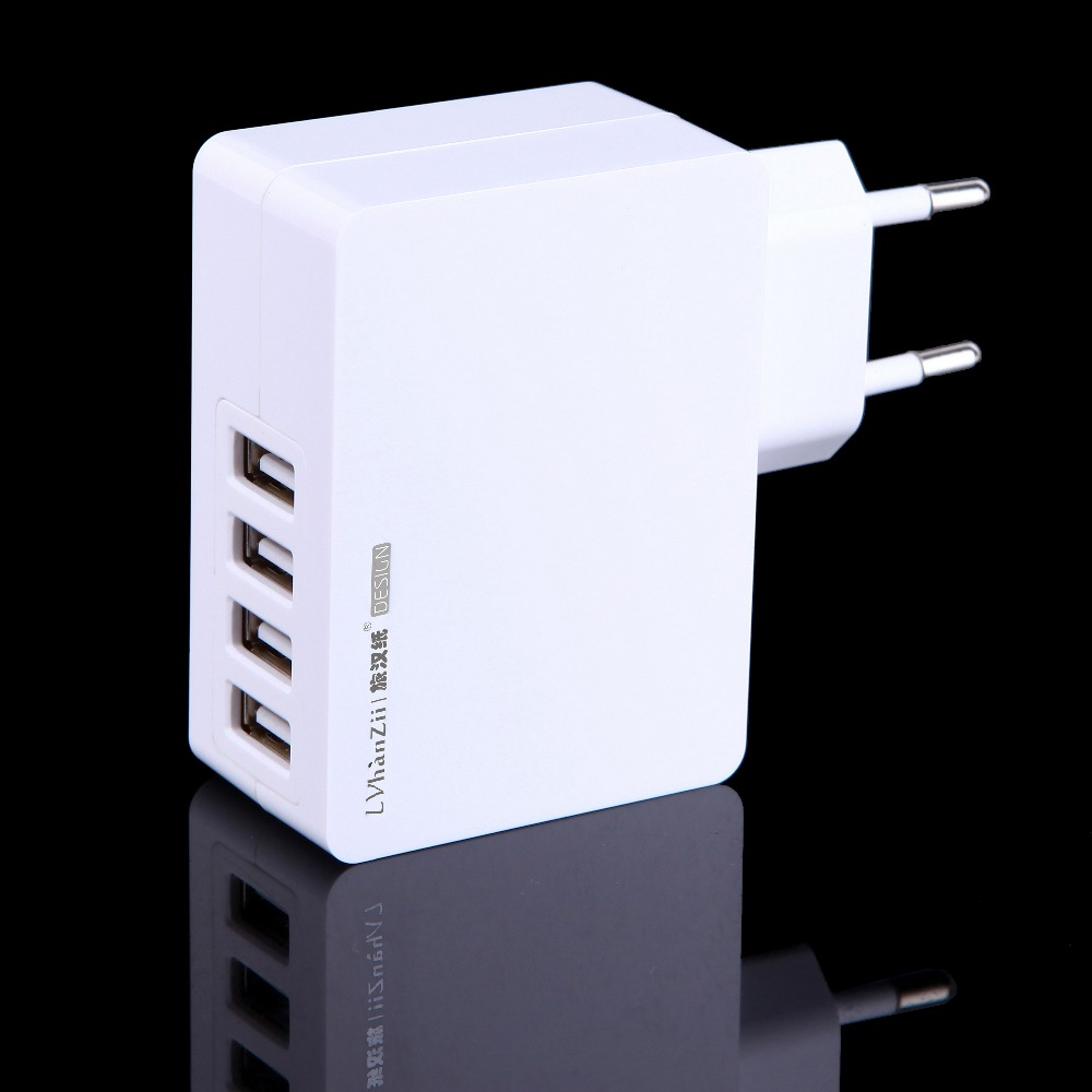 Universal 5V 4A 4-port USB EU Plug Wall Charger Micro USB Charger for Tablet PC Cell Phone Smart Travel Charger Power Adapter(China (Mainland))