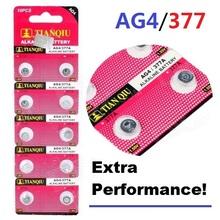 10pcs TIANQIU AG4 battery 377 LR626 SR626 626 Watch LR66 SR66 Cell Button Batteries Alkaline men women watches(China (Mainland))