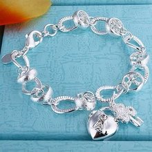 Sterling Silver 925 Jewelry 925 Sterling Silver Heart Lock Key Charms Silver Cuff Bangles Bracelets H081(China (Mainland))
