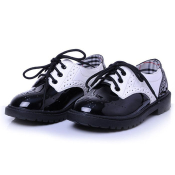 2016 New British Style Children Oxfords Shoes Unisex/ Lace Up Girls Shoes Toddler/Patchwork Little Boys Shoes/Kids Dress Shoes