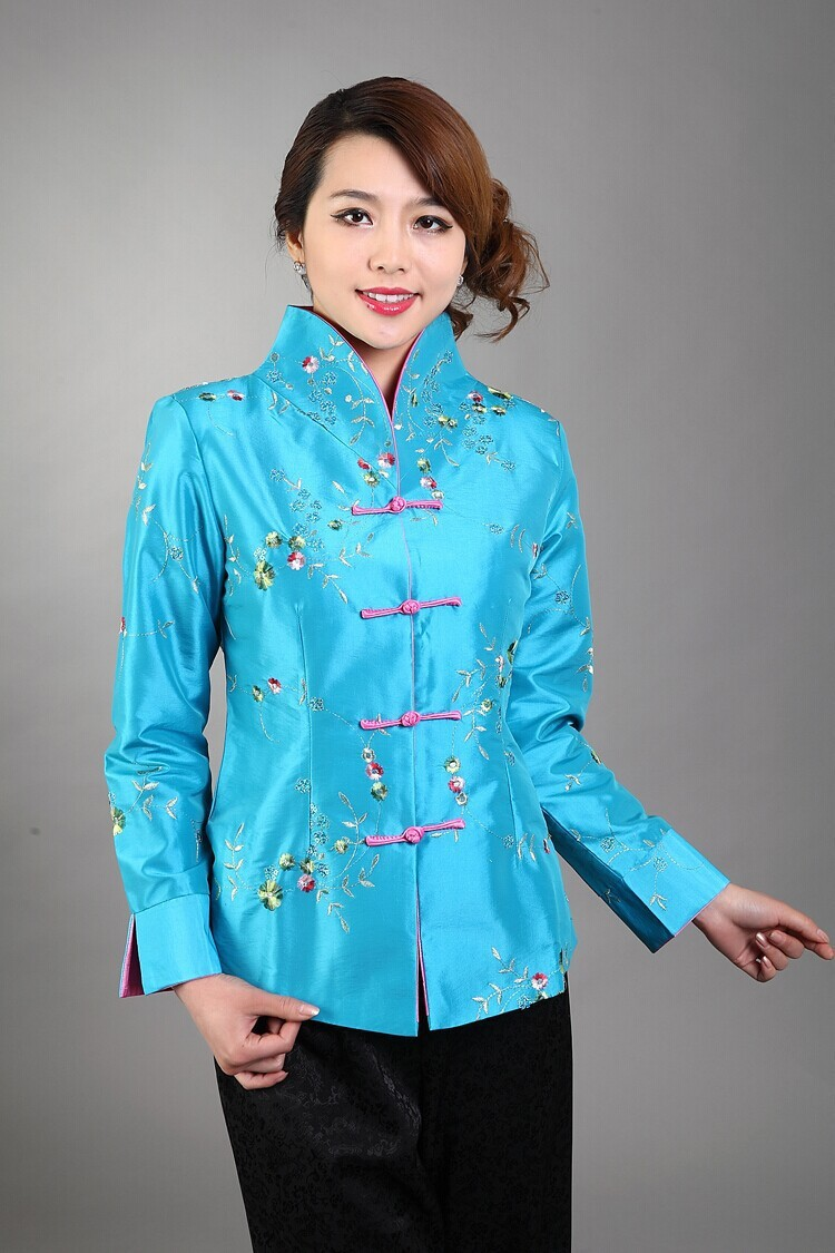 Light Blue Traditional Chinese Style Womenu0026#39;s Silk Satin Embroidery Jacket Coat Flowers Size S M ...