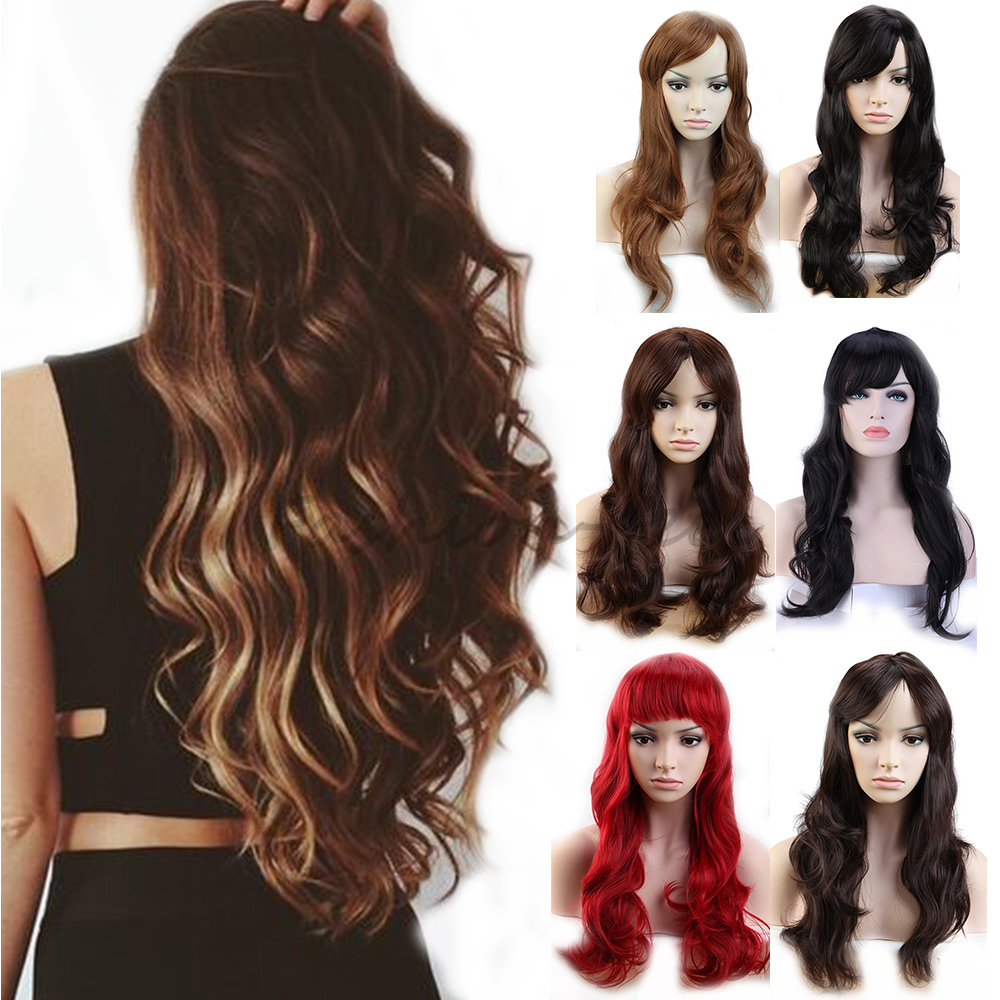 New Girly Long Curly Wavy Synthetic Full Wigs Natural Black Brown Blonde Thick & Soft Hair Wonderful Cosplay Daily Fancy Dress(China (Mainland))