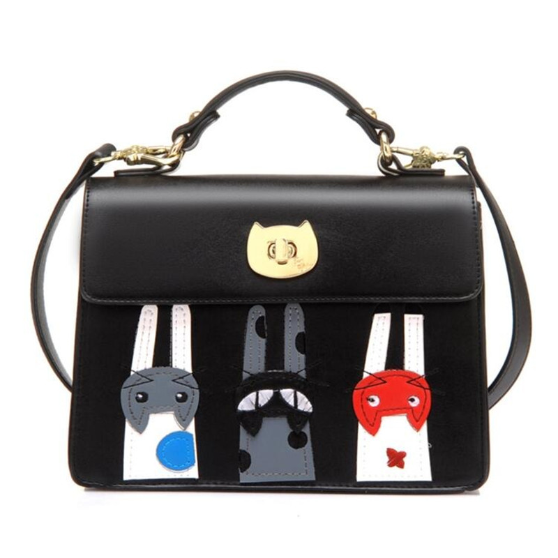 new arrive 2016 women messenger bags Lady cat Bag Patchwork Campus Women Leather Handbags high quality bag BK521(China (Mainland))