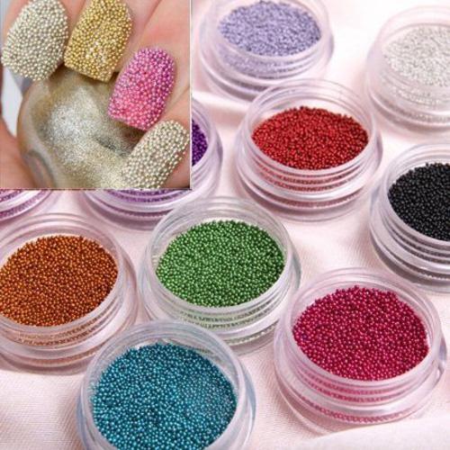 wholesaleCaviar Nails Art 12 Colors plastic Beads Manicures Pedicures Nail Art Beauty DIY(China (Mainland))