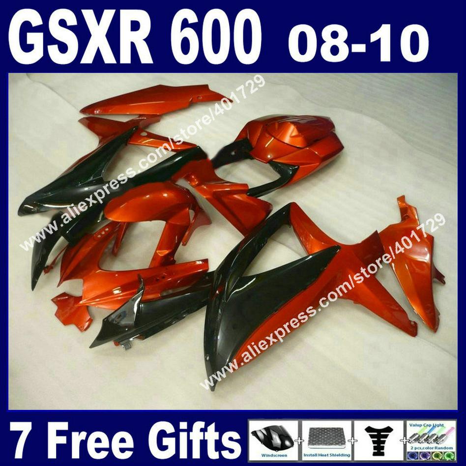 High quality Fairings SUZUKI 2008 2009 2010 GSXR 600 750 K8 gleamy orange black 08 09 10 GSXR600 GSXR750 moto EMS free set OR74(China (Mainland))