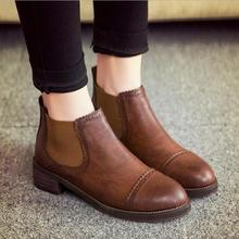 2015 New Round Spring/autumn Ankle Women Boots Retro Pu Round Toe Plain Woman Boots Winter Boots Martin boots A606(China (Mainland))
