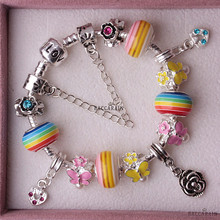 (15-17CM) kids rainbow butterfly Charm beads Fit Pandora Style Bracelet for kids children European DIY Handmade beads Y-DC-15(China (Mainland))