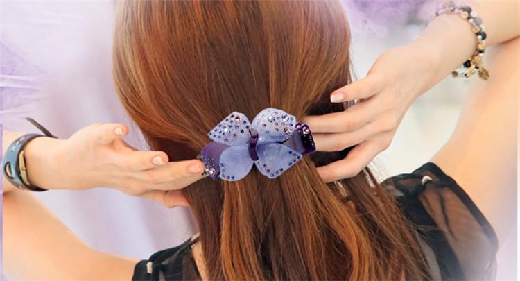 Elegant Flower Bow With Rhinestone For Women Hair Spring Clips Girls Hair Accessories French Hair Barrettes Hairpins Hair Clips
