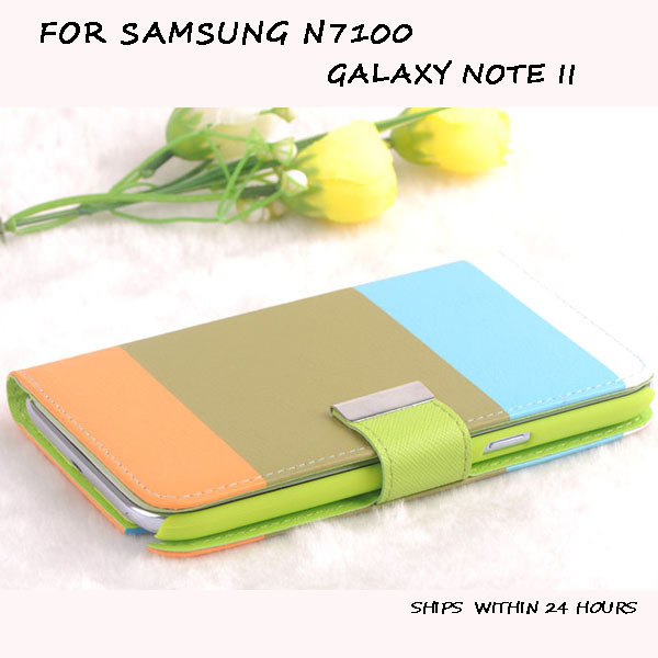Flip Wallet Colourful Leather Cover Case for SAMSUNG n7100 galaxy note II free shipping