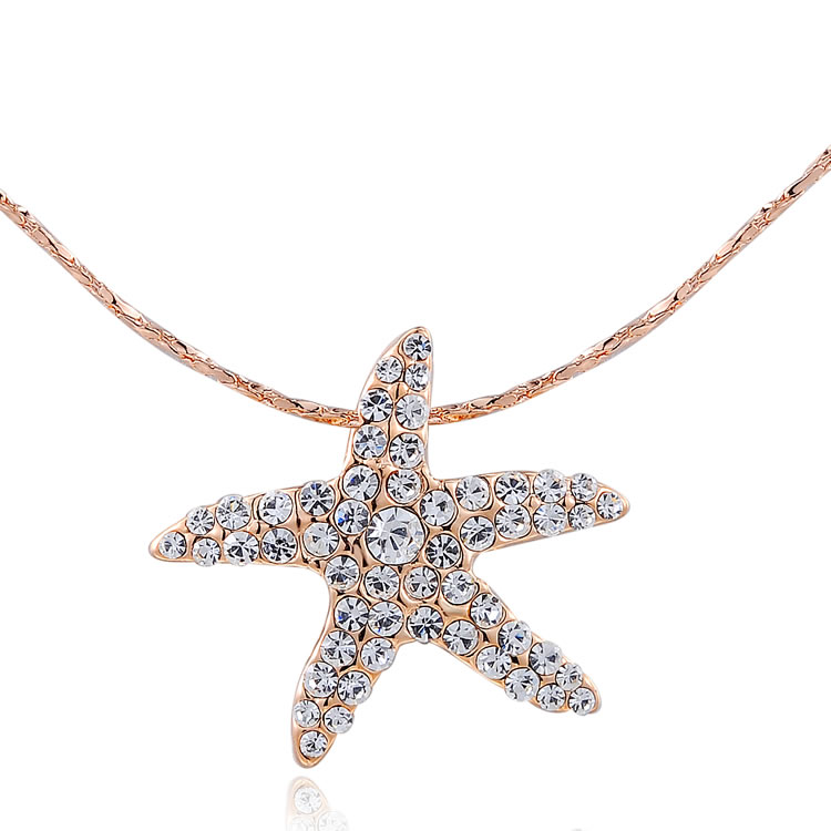 Free shipping Fashion rose gold plated crystal starfish pendant necklaces for women Fashion Jewelry(China (Mainland))
