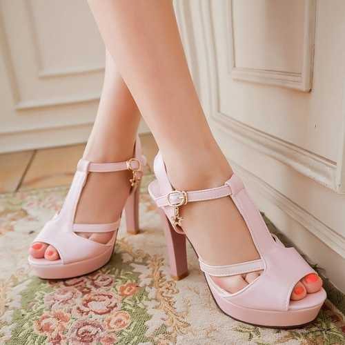 Sexy Ultra High Heel Summer Sandals Fashion Peep Toe T-strap Buckle Platform Shoes Womens Wedding Party Shoes<br><br>Aliexpress