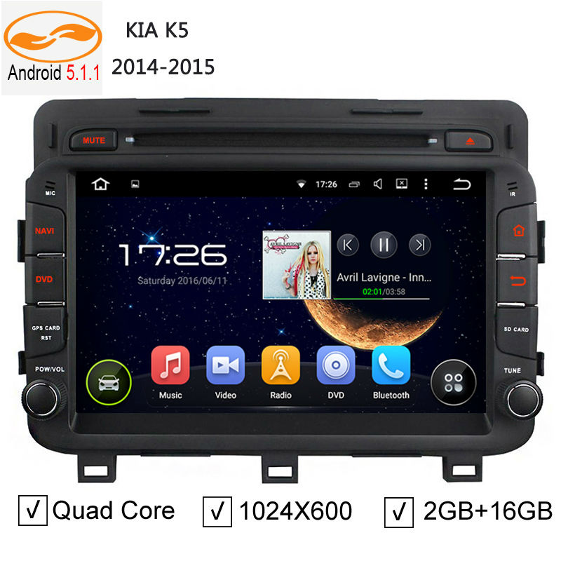 Quad Core Car Radio Head Unit for Kia K5 2014 2015 Android 5.1.1 GPS Navigation System with DVD Automotive Player TV BT USB(China (Mainland))