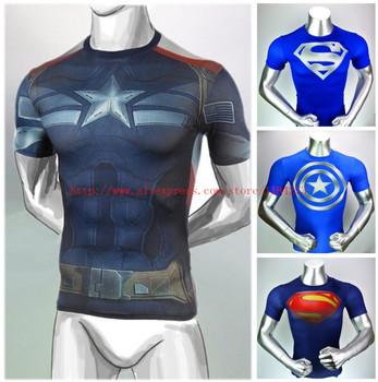 Бесплатная доставка 2015 новый сжатого 3D майка горячая супермен / бэтмен т рубашки мужчин спортивные быстрый сухой фитнес одежда капитан америка