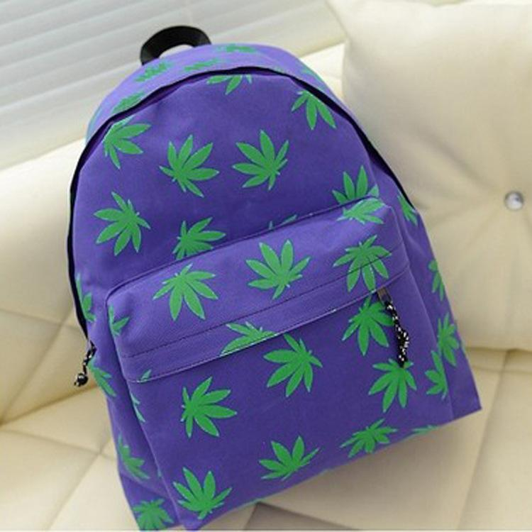YZ new Korean version backpack women 2014 of the small fresh maple leaves printed canvas shoulder bag schoolbag(China (Mainland))