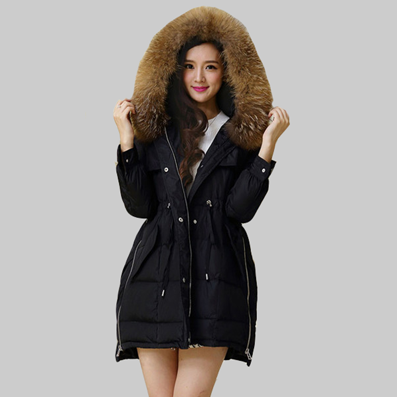S-XXL 2016 New Fashion Real Fur Collar Thicken White Duck Down Jacket Hooded Loose Warm Parkas Korean Women Winter Coat DQ559Одежда и ак�е��уары<br><br><br>Aliexpress