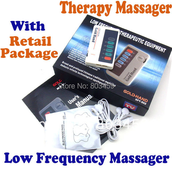 XFT502 Gold Hand Low Frequency Massager TENS Units Stimulators Full Body Therapy Massager Two Ways With 4Pads With RetailPackage(China (Mainland))