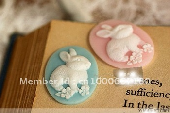 2012Newest~!European Flat Back Resin rabit pendants resin Flower,15*18mm mix color resin cameo/cabochon for jewelry decoration!!