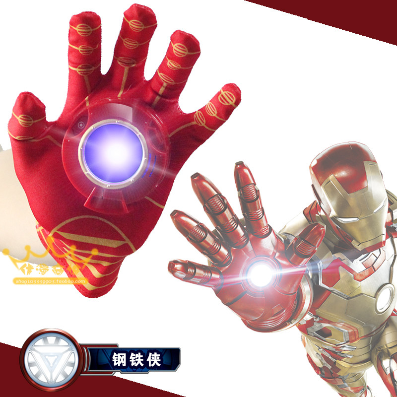 2016 New Cosplay Avengers Toy Cartoon Interesting Iron Man Glove Emitter Flash Sound Action Figure Toys For Children Gifts(China (Mainland))