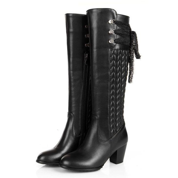 Фотография Free Shipping 2015 ladies Fashion full grain leather knee high boots winter platform heel high boots for women size 30-45