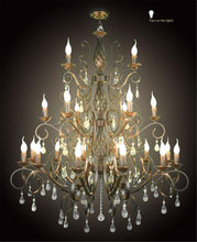 21 heads arms  Chandelier E14 Candle Black Vintage Metal Home Chandeliers lustre suspension luminaire crystal hanging lamparas(China (Mainland))