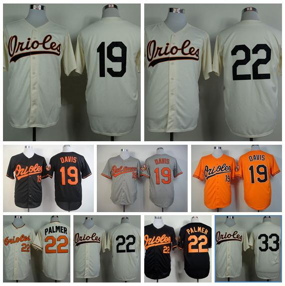 Baltimore Orioles Baseball Jerseys 19 Chris Davis Jersey Retro 22 Jim Palmer 33 Eddie Murray 23 Nelson Cruz Baseball tshirt(China (Mainland))