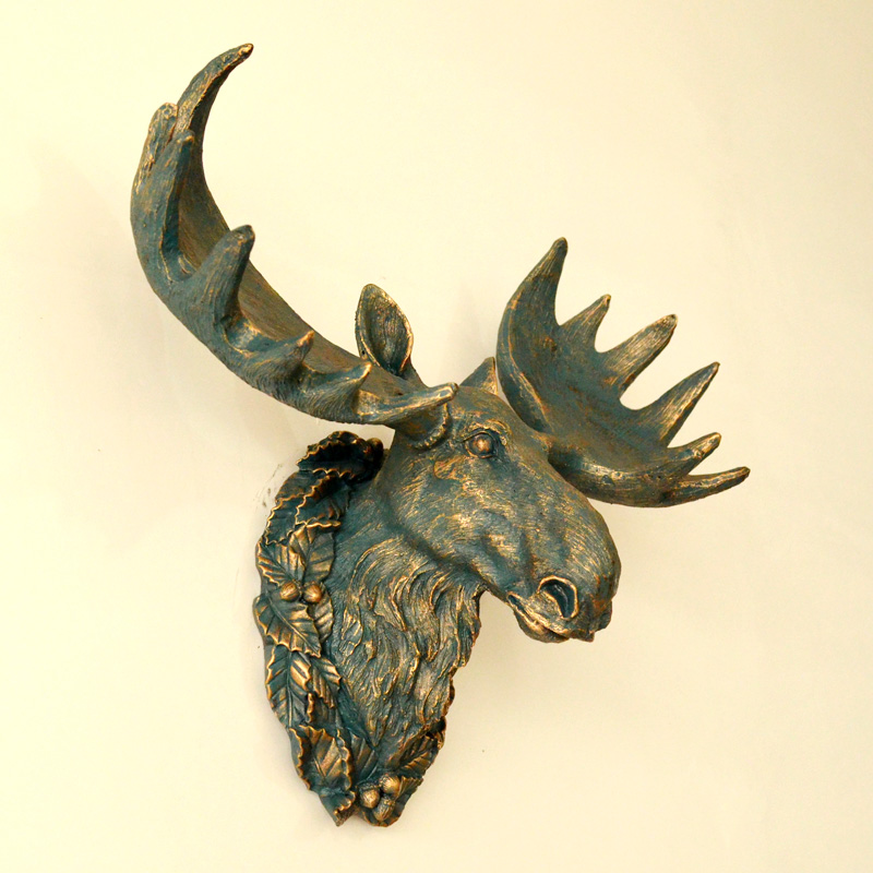 hot poylresin animal head wall hanging decoration moose