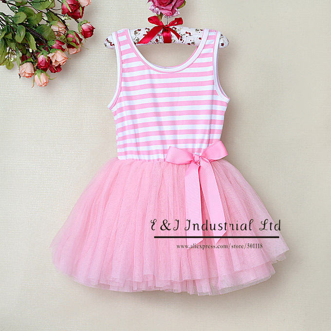 New 2015 Girls Petti Dresses Pink Striped Baby Princess Party Dress Childern Clothing Infant Wear Wholesale GD30105-14^^EI