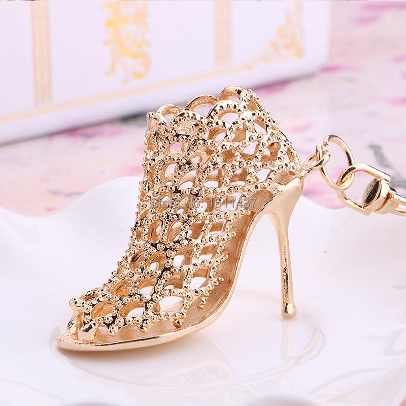 Shoe Keychain!Novelty Creative Rhinestone Hollow High-heeled Shoes Keyring charm bag Key Chain Ring Keyfob Girlfriend gift(China (Mainland))