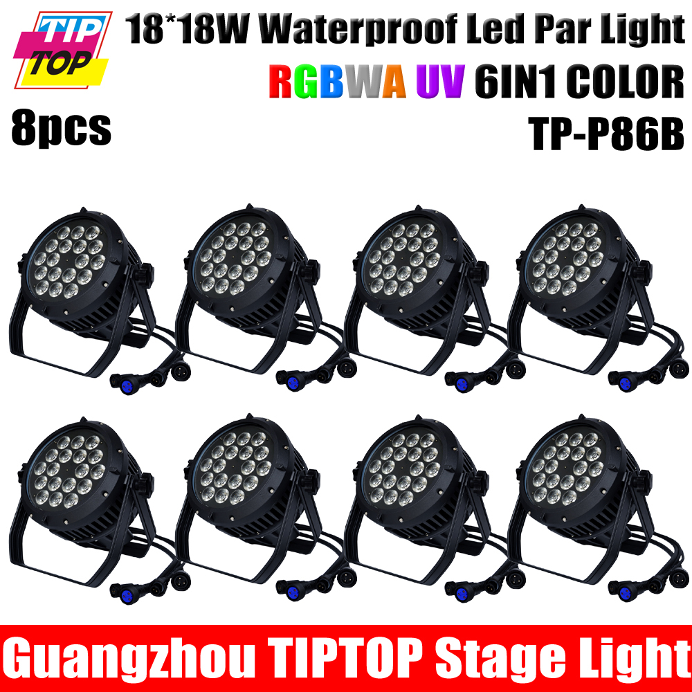 8X LOT Factory EXW Price Outdoor IP65 Waterproof 18pcs*18W 6in1RGBAW+UV LED Par Light,Outdoor LED Par Light For Stage Party(China (Mainland))