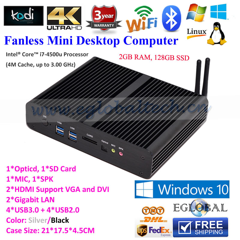 2GB DDR3 128GB SSD Fanless Nuc Mini PC for IR Interactive Whiteboard SKD Touch Screen Solution as Server Computer 2HDMI 2LAN USB(China (Mainland))