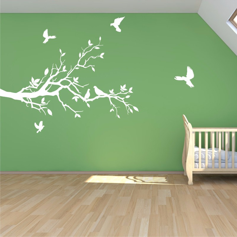 Tree branch Wall Decal With Petty Doves,Vinyl Mural Stickers Removable Tree Sticker Living Room Wallpaper Home Decor(China (Mainland))