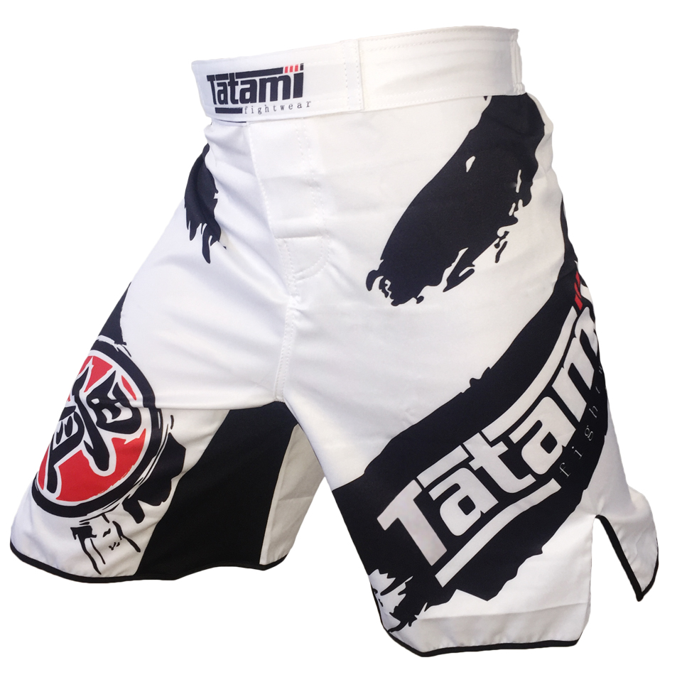 Black and white ink painting loose and comfortable boxing training and competition shorts kickboxing shorts mma fight shorts(China (Mainland))