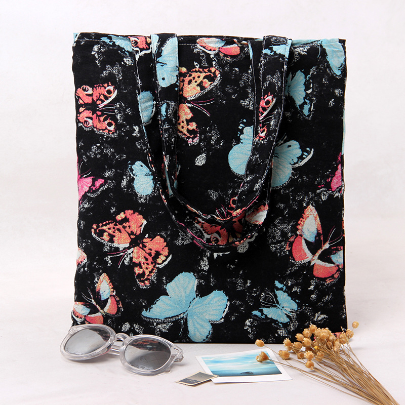 women animal printed canvas handbag designer black and blue hand bag elegant shoulder bag bolso tela mujer sac a main fille(China (Mainland))
