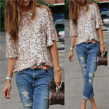 New 2016 Top Lady Tank Womens 3/4 Sleeve Sequin Coctail Party Glitter Sparkle T-Shirt(China (Mainland))