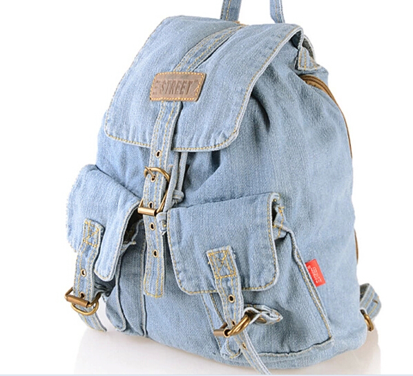 Classic Vintage Fashion Preppy Style Women Bag Cotton Denim Backpacks for teenage girls Retro Jeans Bag School Travel Hiking Bag(China (Mainland))