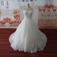 HW091 Sweetheart Applique Zipper A Line Sweep Train Charming Button Lace Wedding Dress 2016(China (Mainland))